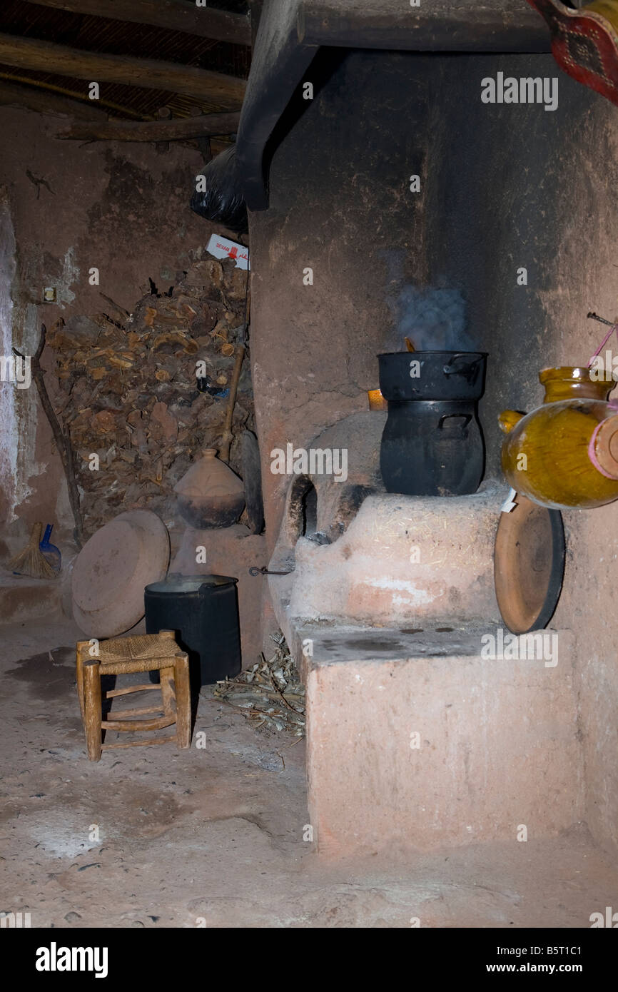 Traditional Berber kitchen at the foothills of the Atlas mountains Morocco, North Africa - Stock Image