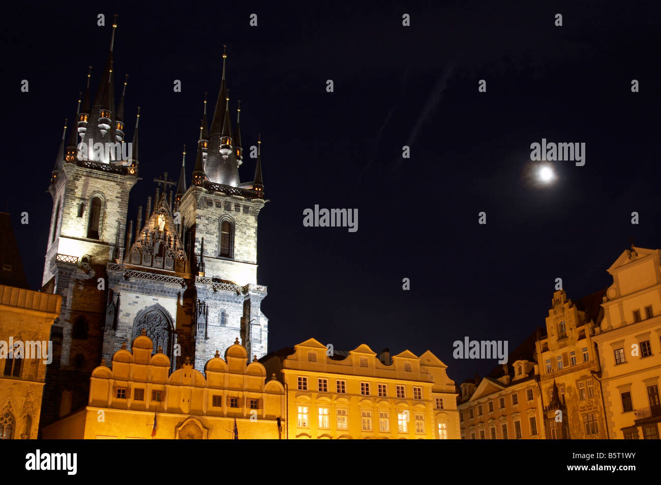 Church of Our Lady in front of Týn (Kostel Matky Boží před Týnem) at the Old Town Square (Staroměstské - Stock Image