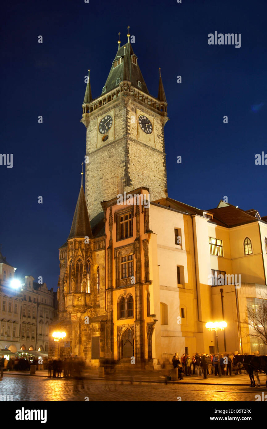 The Old Town Hall Tower at the Old Town Square (Staroměstské náměstí), Prague - Stock Image