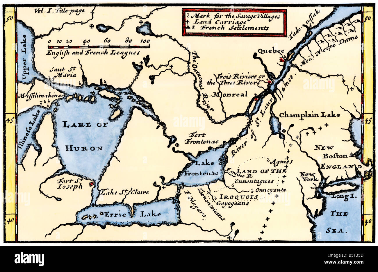 La Hontan's map of the Great Lakes and Saint Lawrence valley 1703. Hand-colored woodcut - Stock Image
