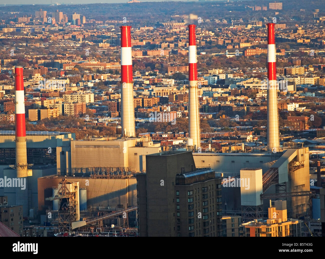 Atmosphere, Chimney, Chimneys, Chimneystack, Company, Danger, emission, emissions, Emitting, Energy, plant, Environment, - Stock Image