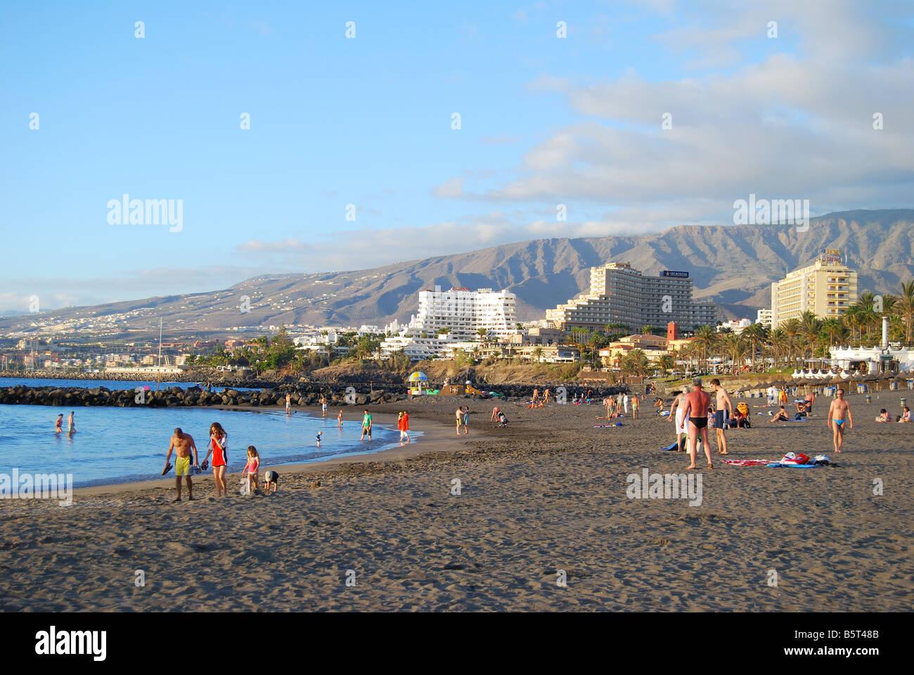 Playa Las Cuevitas at sunset, Playa de las Americas, Tenerife, Canary Islands, Spain Stock Photo