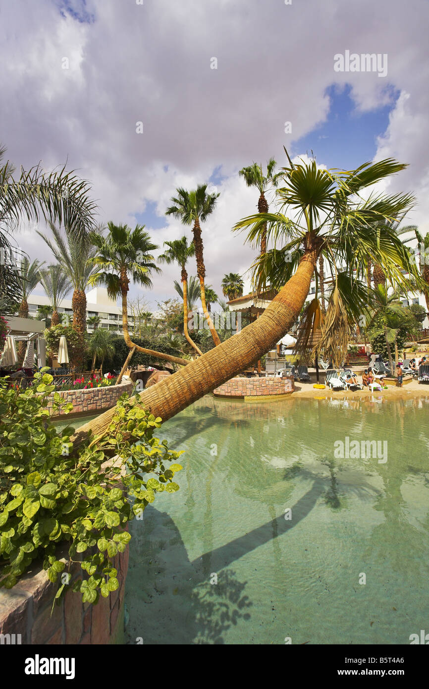 Inventively issued court yard in magnificent hotel in Eilat Stock Photo