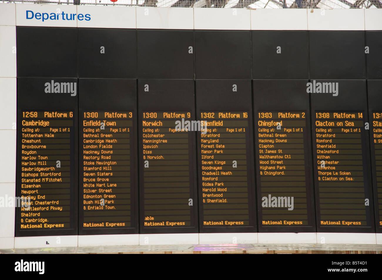 UK London Departure Board Liverpool street station - Stock Image