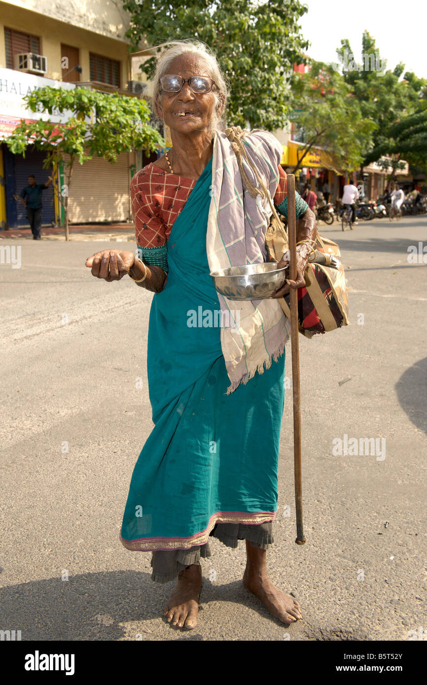 Woman beggar in Pondicherry India. Stock Photo