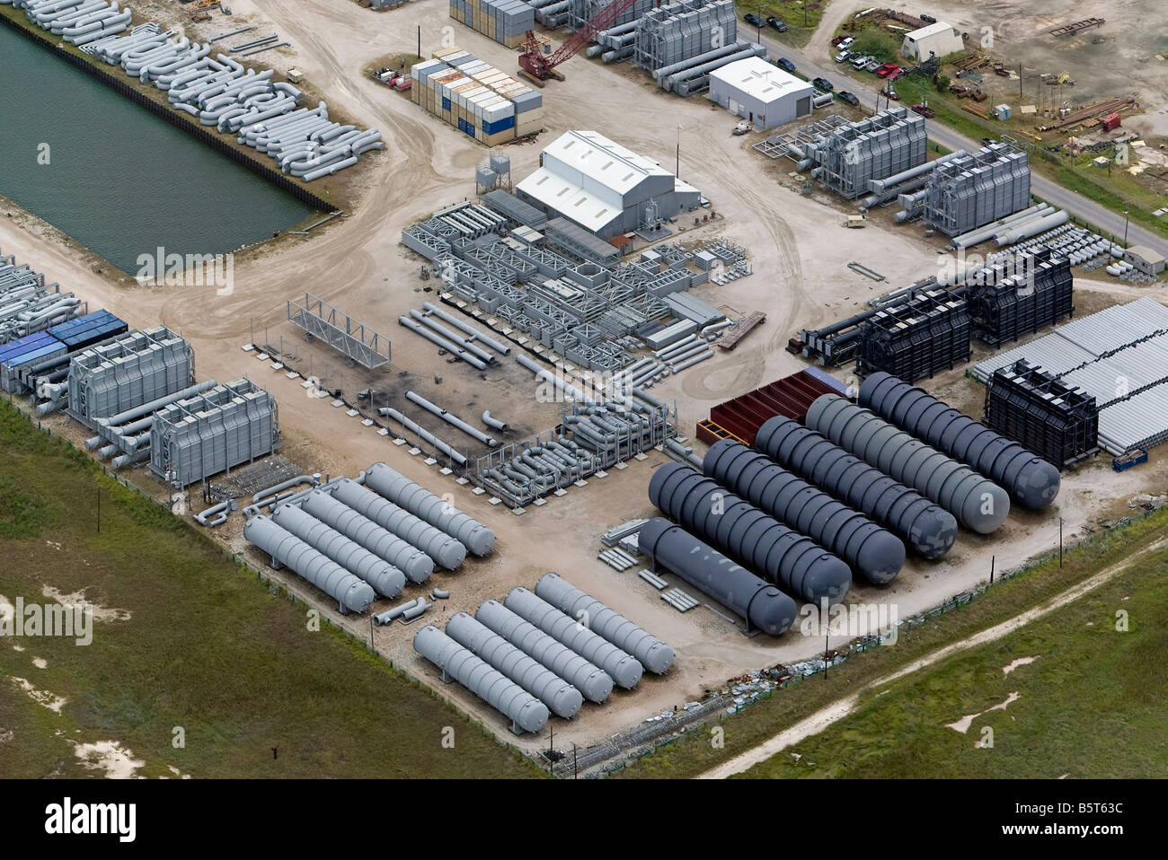 aerial view above construction materials for oil rigs Texas Gulf of Mexico - Stock Image