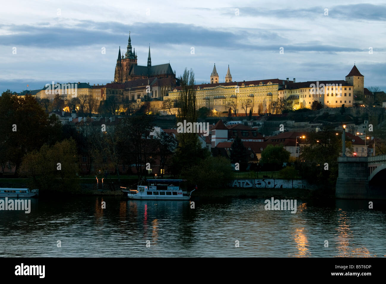 View of Prague Castle from Stare Mesto at night, Prague - Stock Image