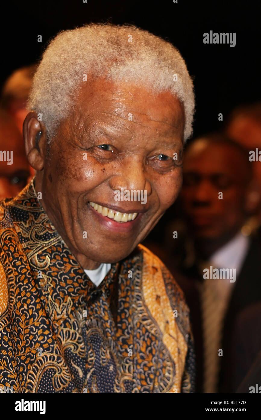 Nelson Mandela smiling - Stock Image