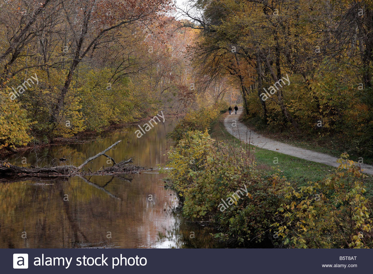 Hikers on the C&O Canal towpath near Violettes Lock in Maryland - Stock Image