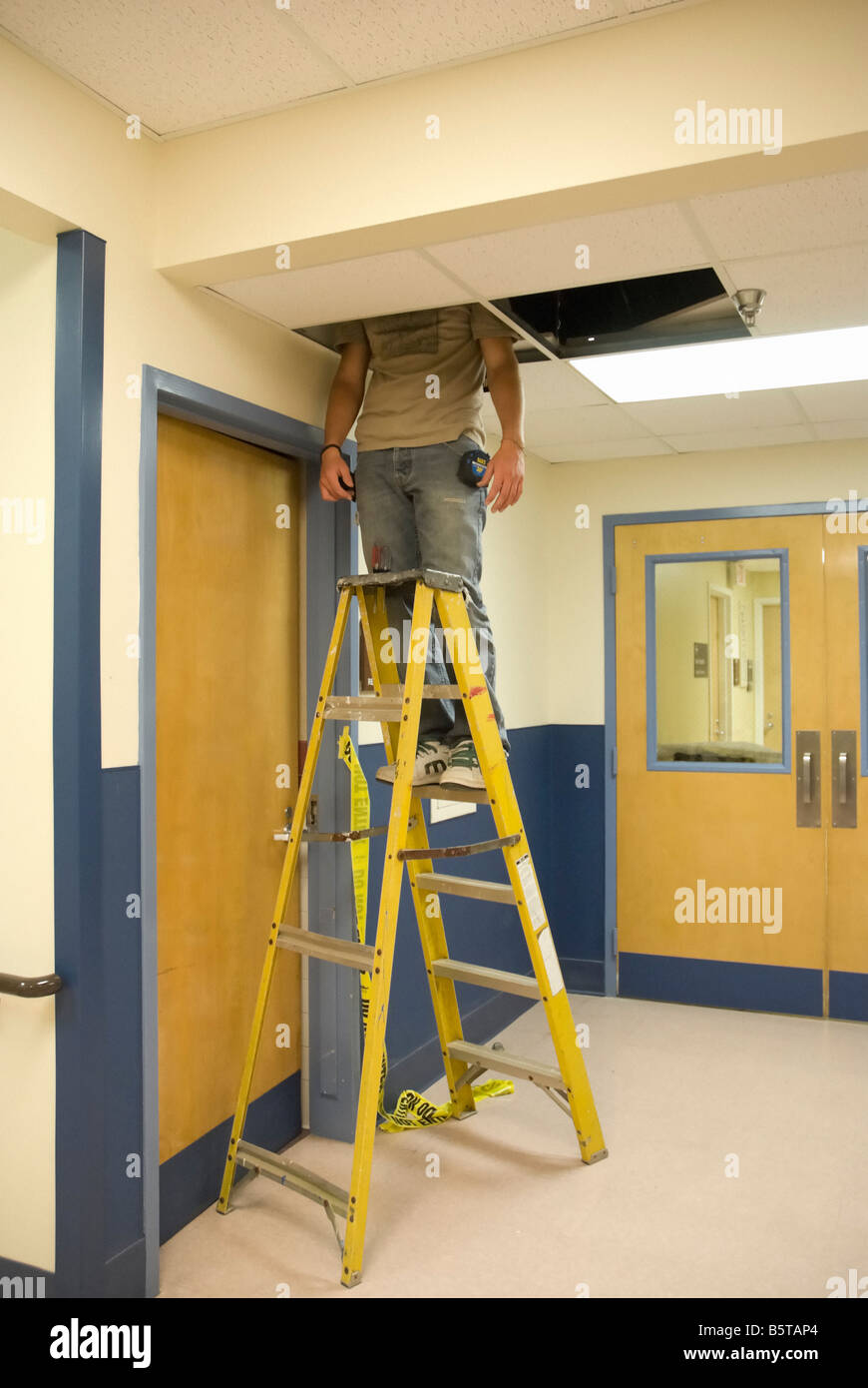 Man Working On Ladder Fixing Ceiling Stock Photo 20818956