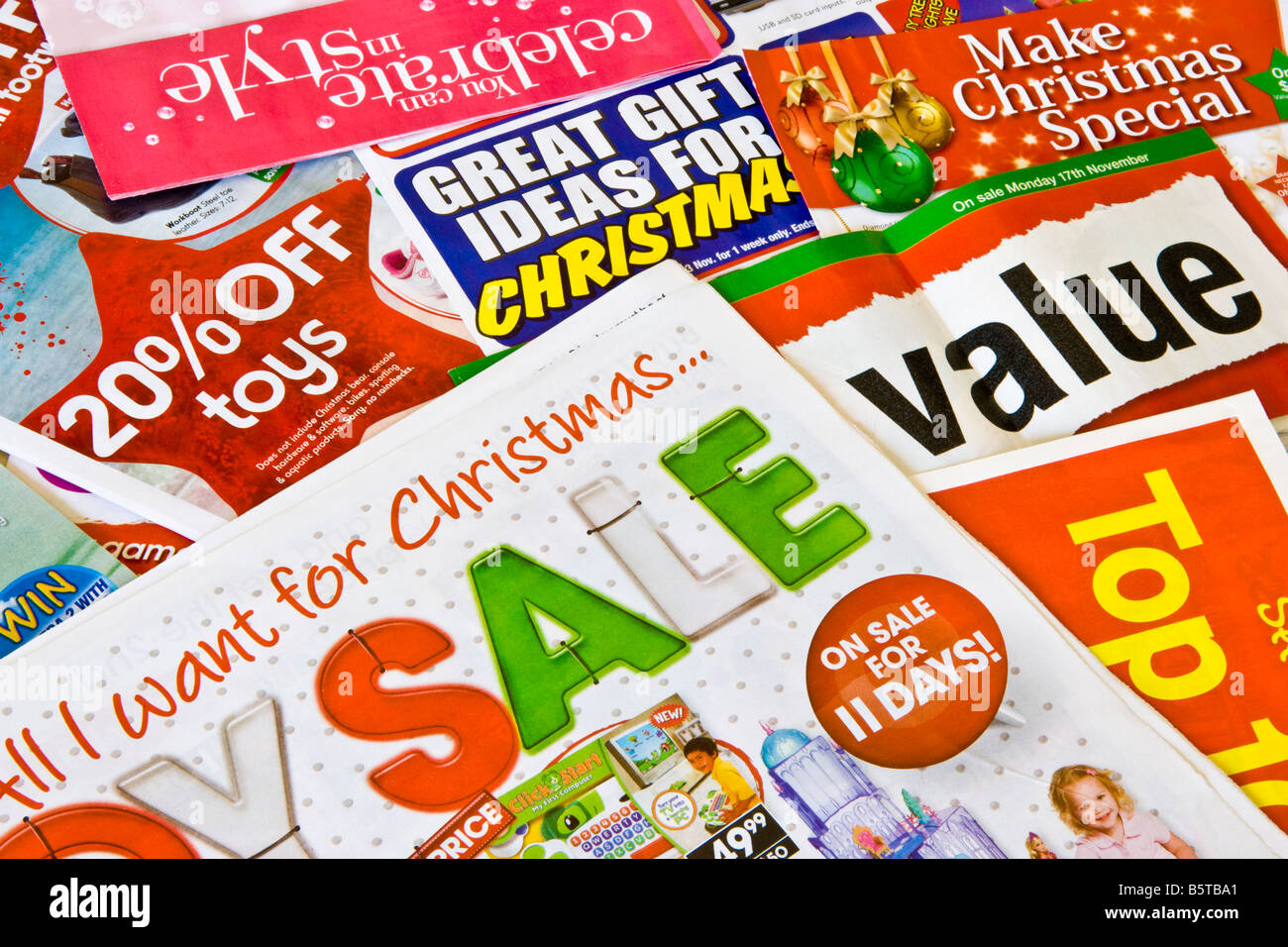 Junk mail catalogues advertising Christmas gifts and sales Stock ...