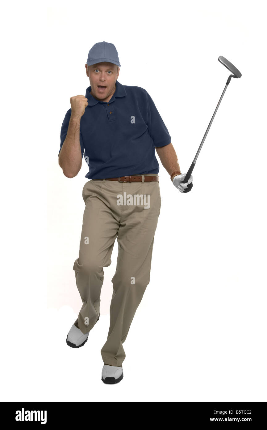 Golfer celebrating after sinking a putt isolated on white - Stock Image