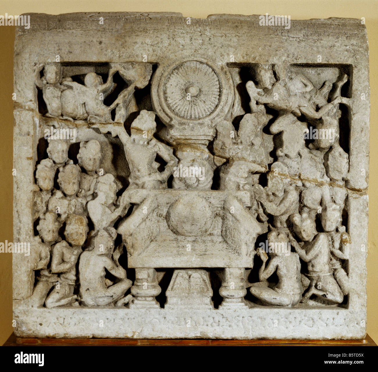 Worship Of Buddhist Symbols Early Indian Sculpture Limestone