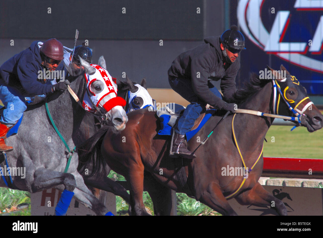 Horse racing at an American horse race track Stock Photo