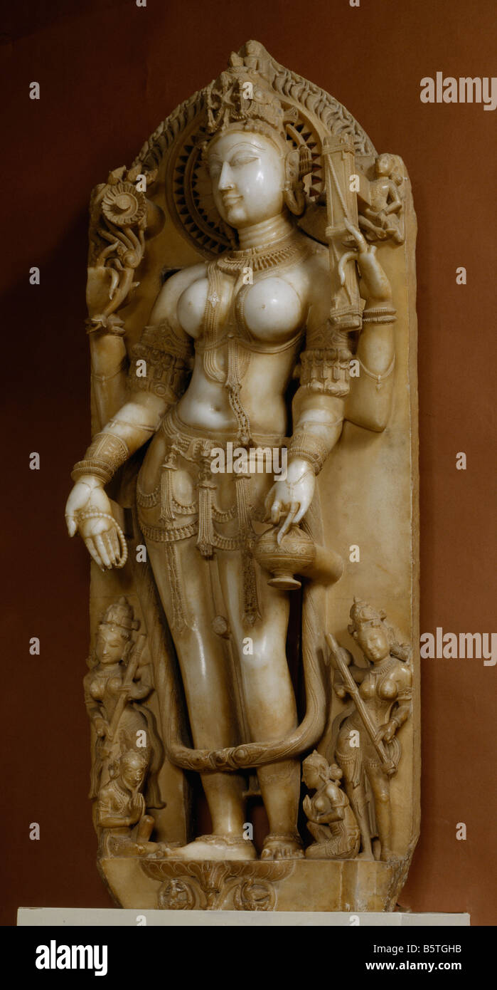 Sarasvati the goddess of learning marble Pallu Rajasthan 12th c. Chauhan dynasty. National Museum of New Delhi ref#1 - Stock Image