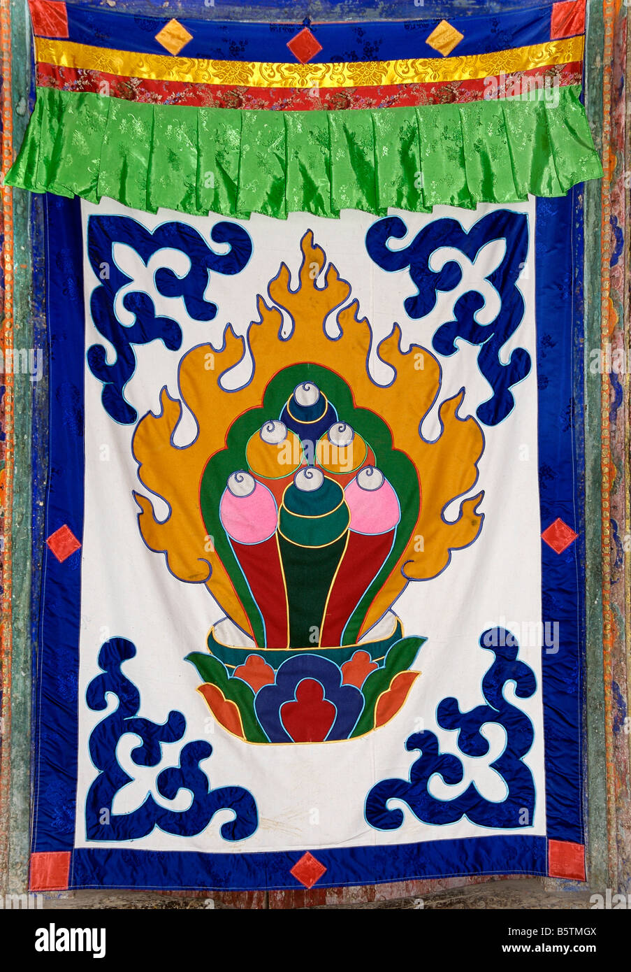 Buddhist textile hangings for sale at  Drepung monastery, Lhasa, Tibet - Stock Image