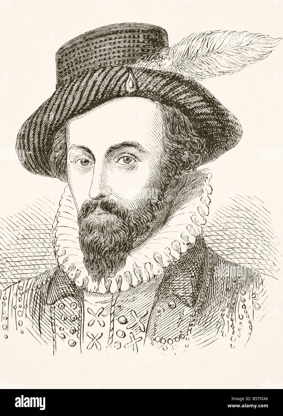 Sir Walter Raleigh circa 1554 to 1618 English adventurer and writer - Stock Image
