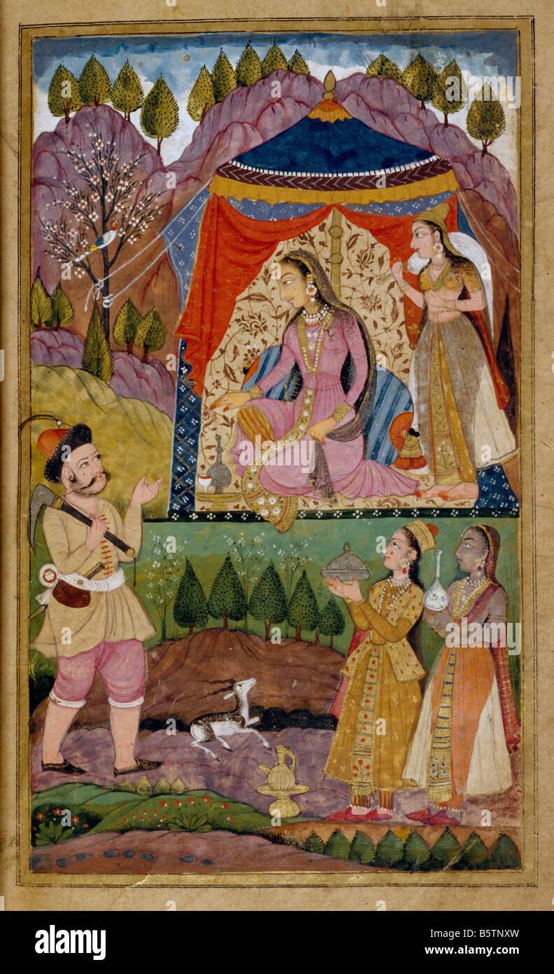 Farhad recounts adventures to Shirin. Islamic book illustration. Khusrau Shirin of Nizami folio 138b dated in the - Stock Image