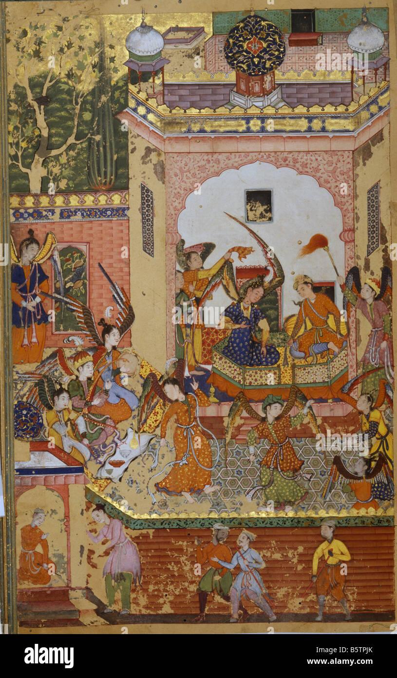 Prince & princess enjoying music & dance performance Islamic book illustration. Khizr Khani Duval Rani folio - Stock Image