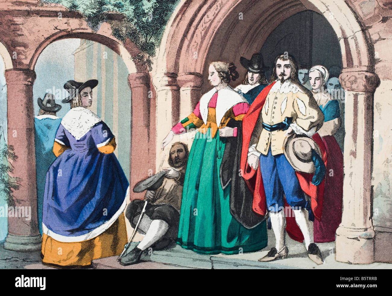 Everyday clothes of ordinary English people at the time of King Charles I - Stock Image
