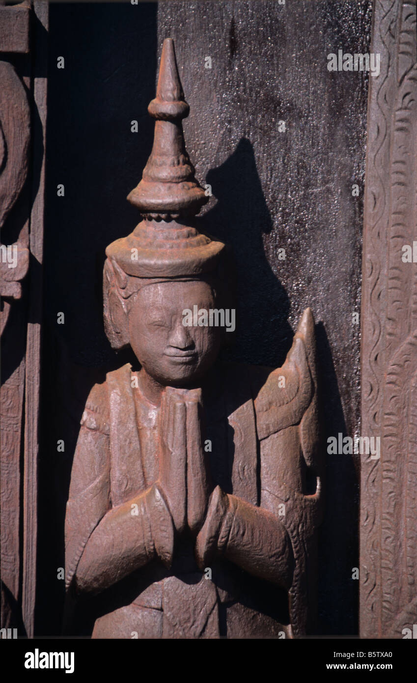 Carved Buddhist door protector figure at the wooden monastery of Shwe In Bin Kyaung Mandalay Burma or Myanmar  sc 1 st  Alamy & Carved Buddhist door protector figure at the wooden monastery of ...