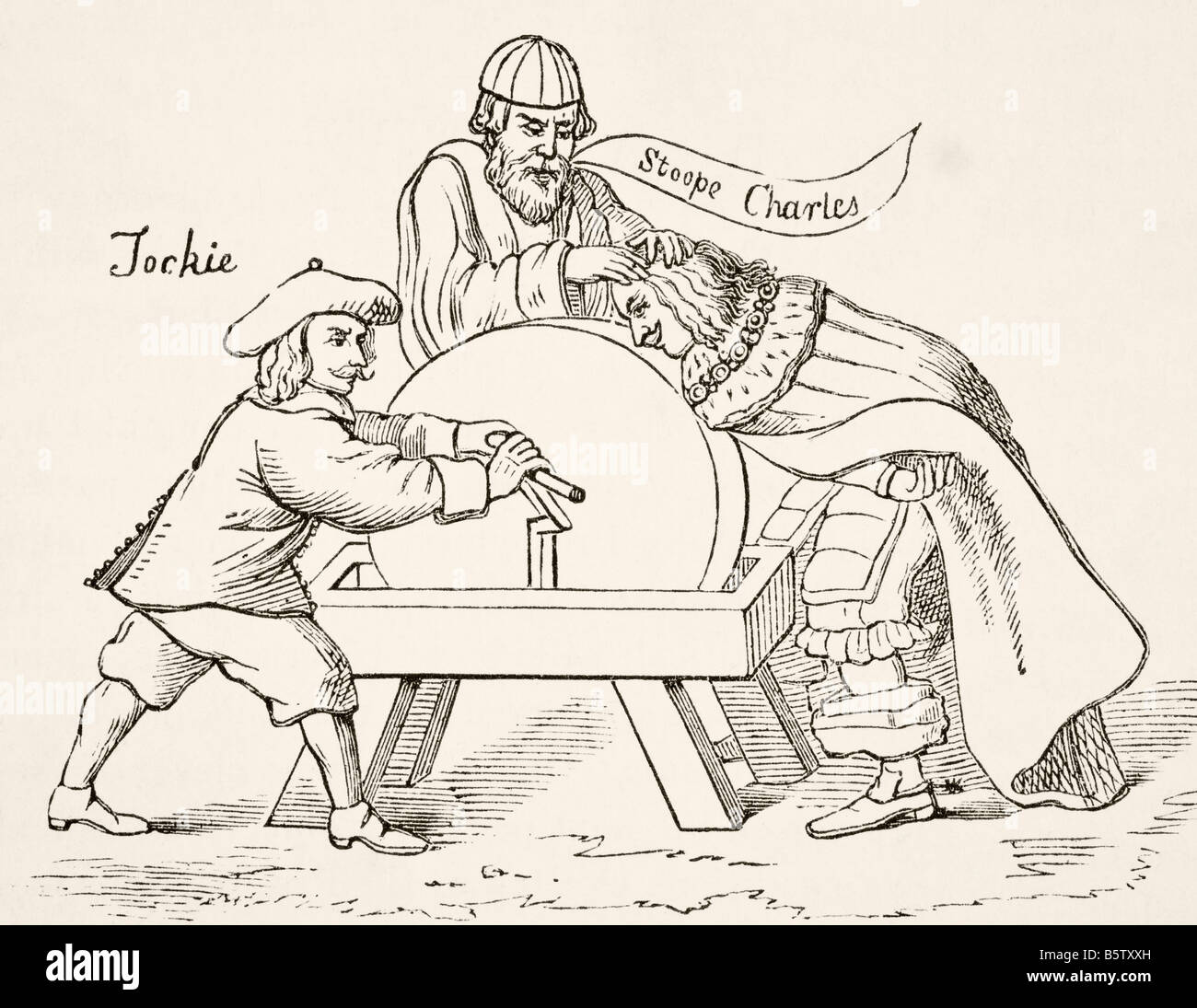King Charles I of England on the grindstone of Scottish Presbyterian intolerance A cartoon from 1651 - Stock Image