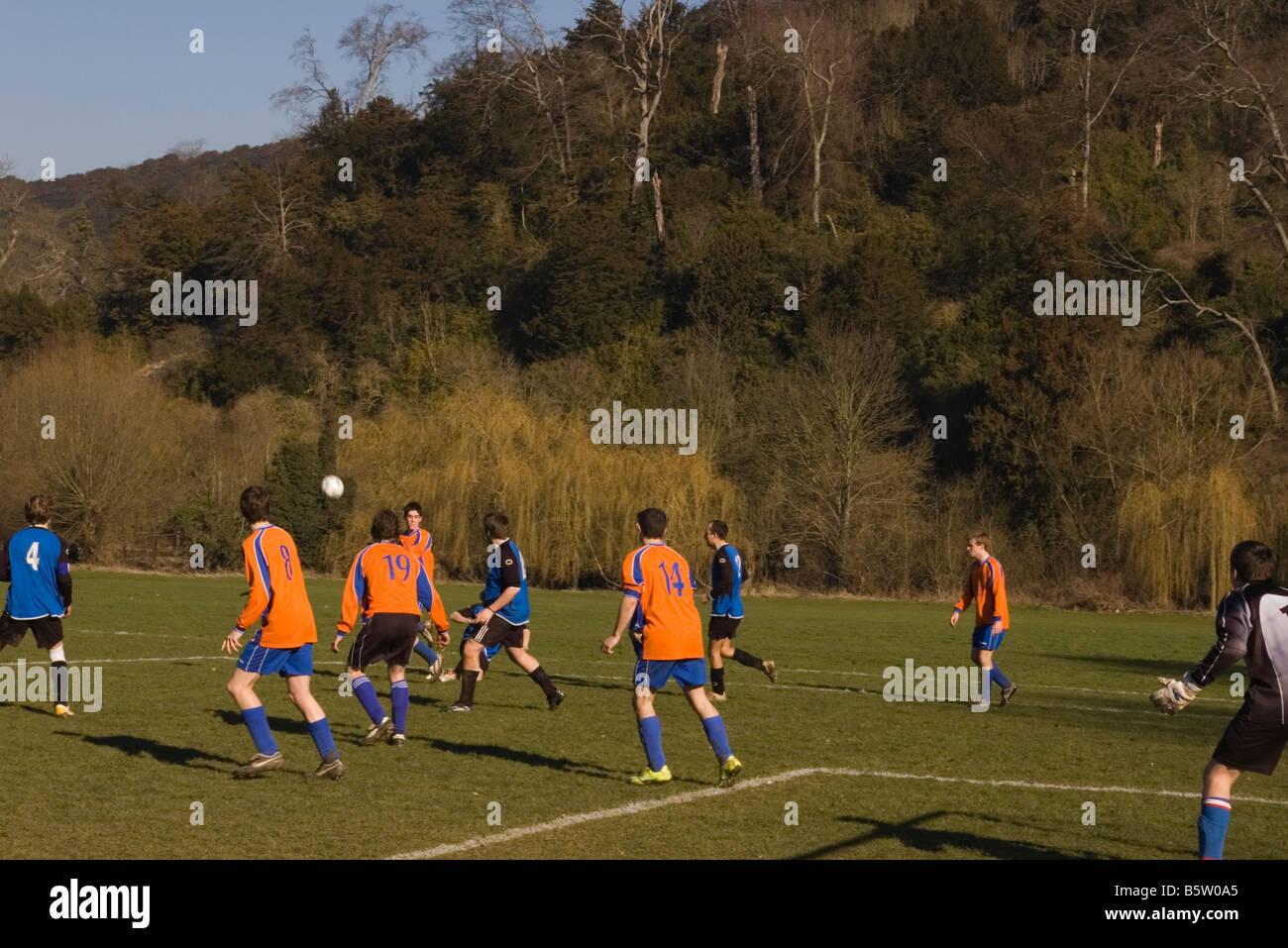 Amateur sunday league football Match - Stock Image