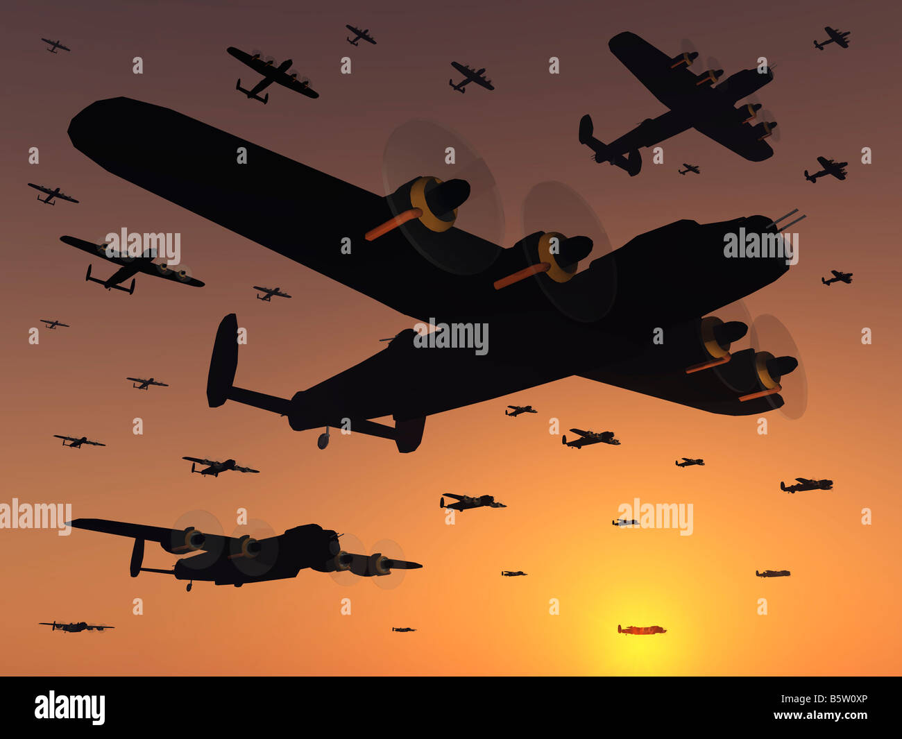 WW2 Lancaster Bombers On an evening mission over Germany - Stock Image