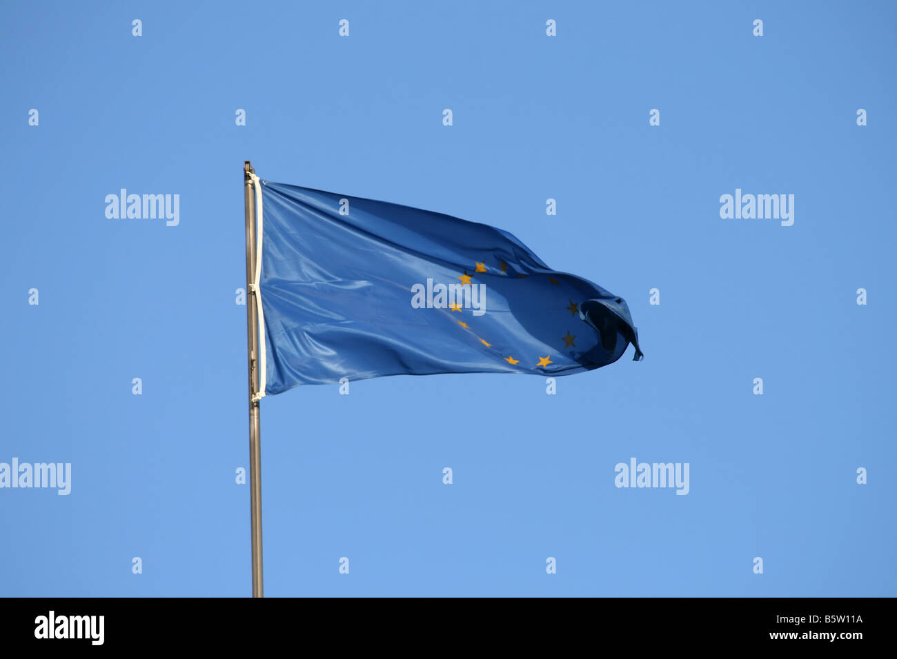 european union flag on the wind yellow stars - Stock Image