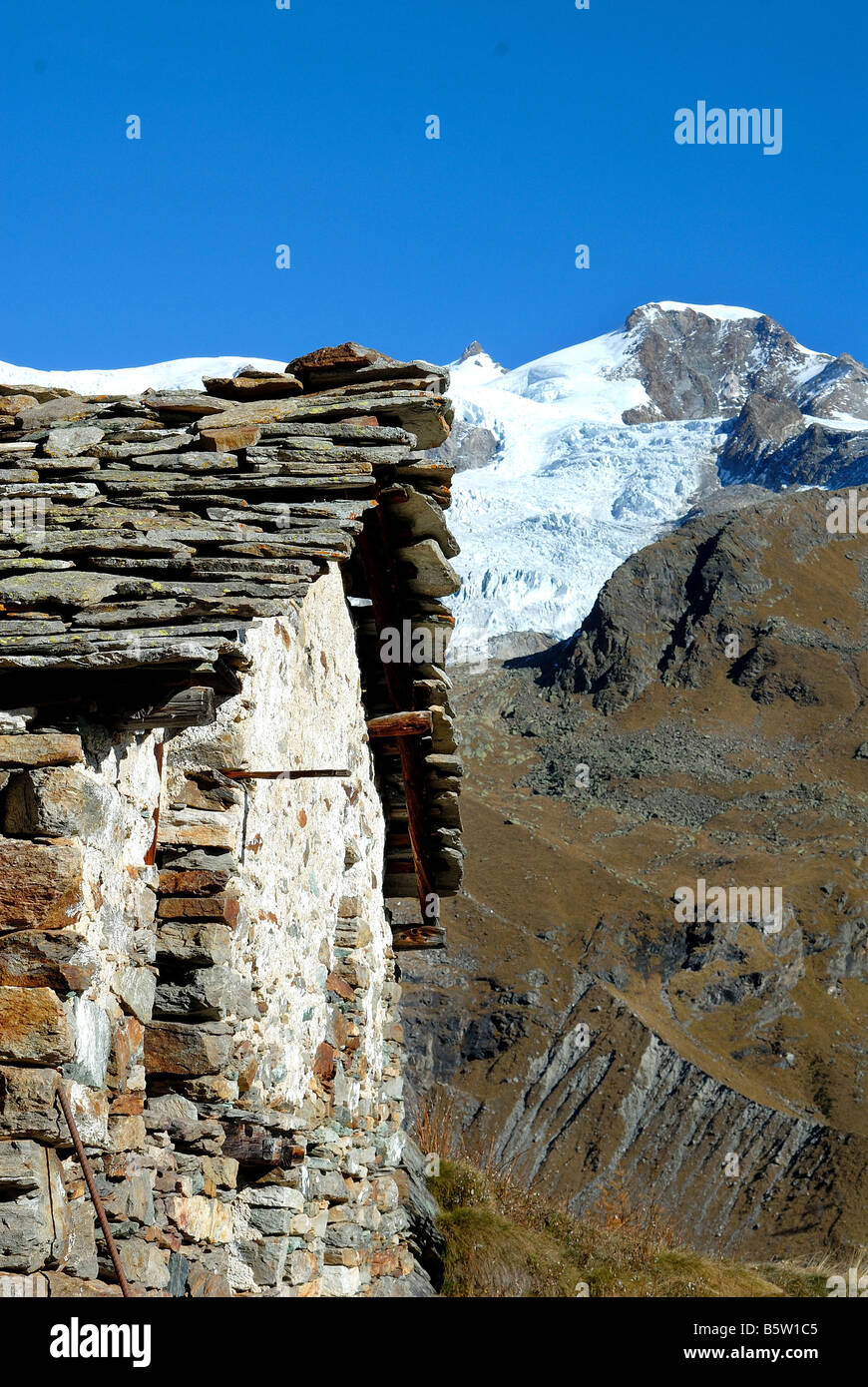 Alpe di Roos  Piramide Vincent  Monte Rosa  Valle di Gressoney  Valle d'Aosta  Italy Stock Photo