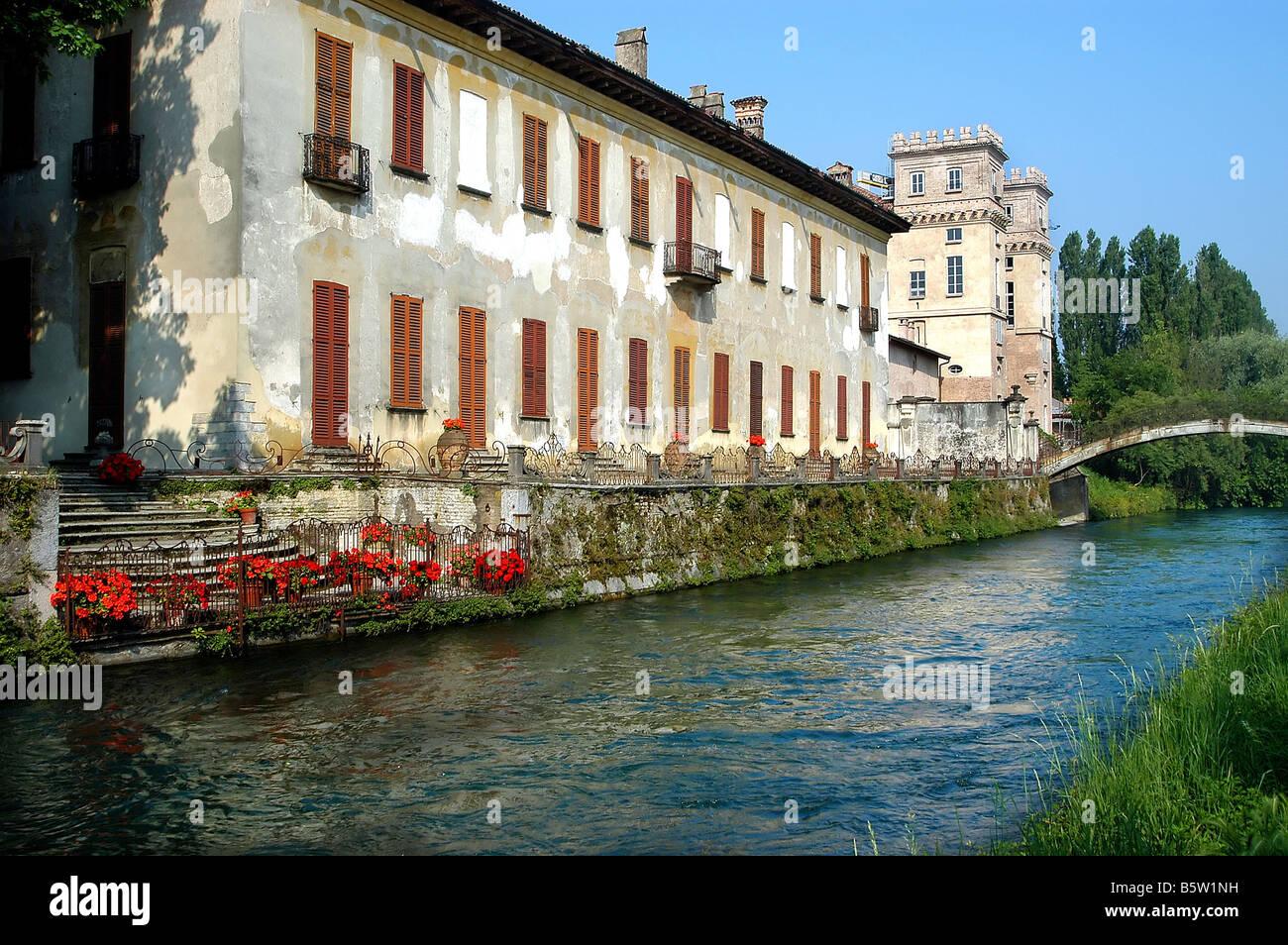 Villa Gaia and Palazzo Archinto  Robecco Sul Naviglio  Naviglio Grande  Lombardy  Italy Stock Photo