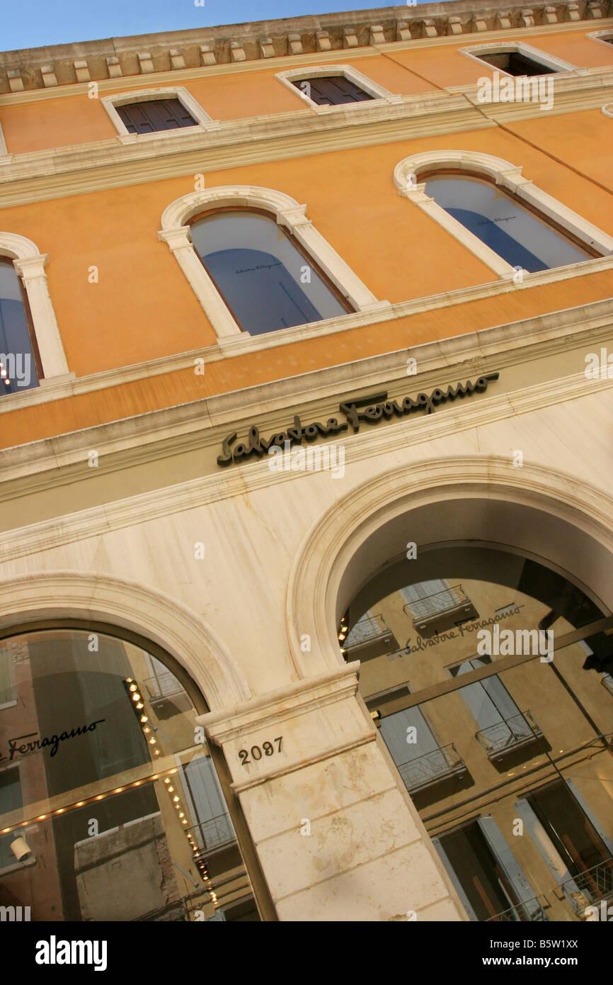 Salvatore Ferragamo shop  Sestiere San Marco  Venice  Veneto  Italy - Stock Image