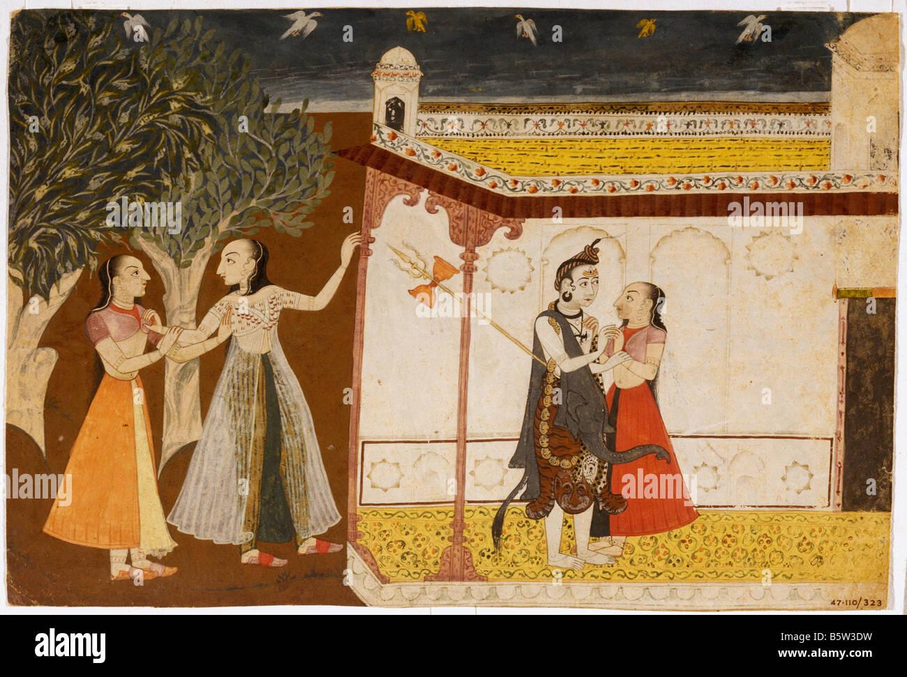 Siva seducing wives of Brahmans Siva Purana. Kulu early 8th century. Hill school of painting. National Museum of - Stock Image