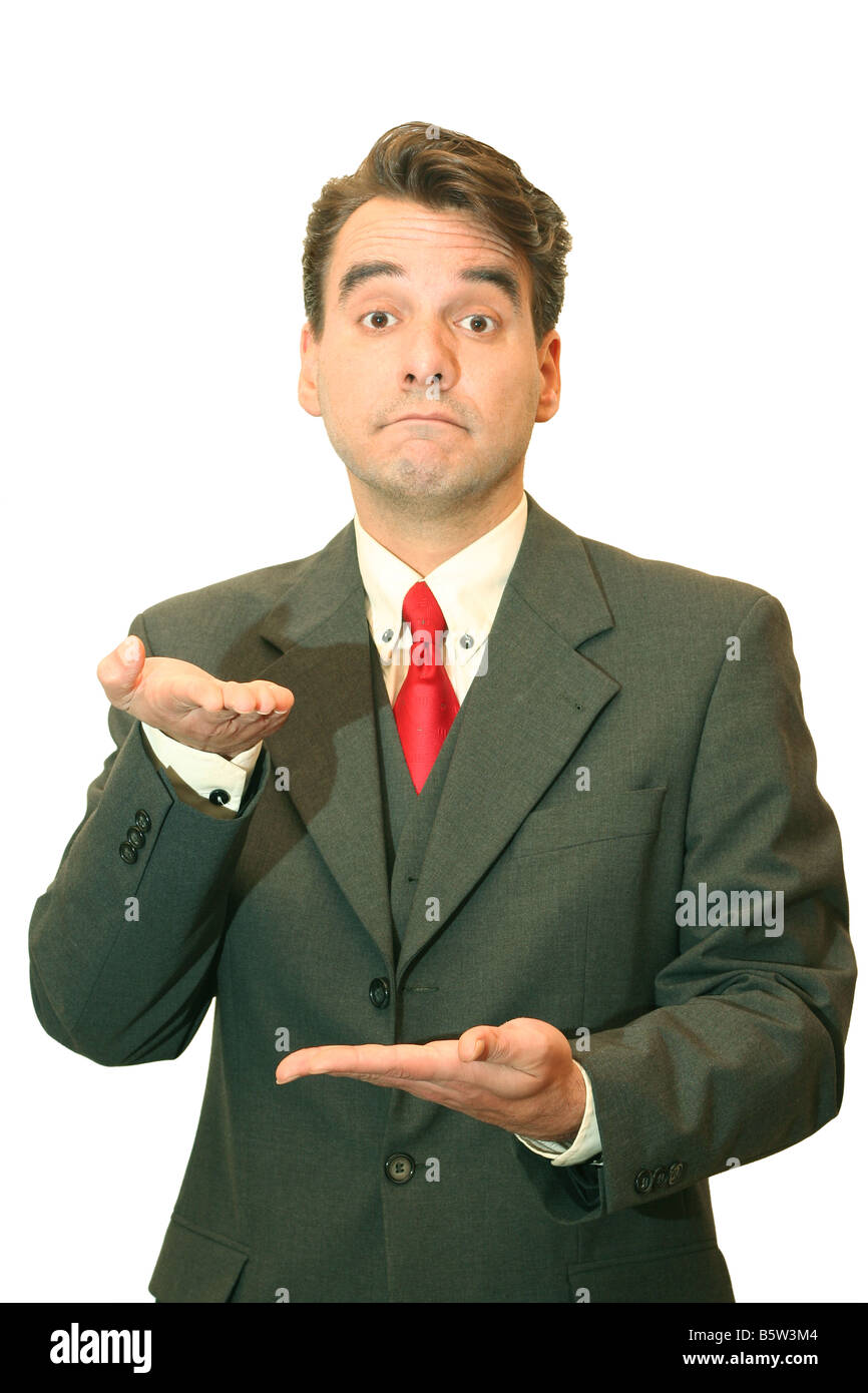 Businessman comparing two items wich one goes up or down - Stock Image