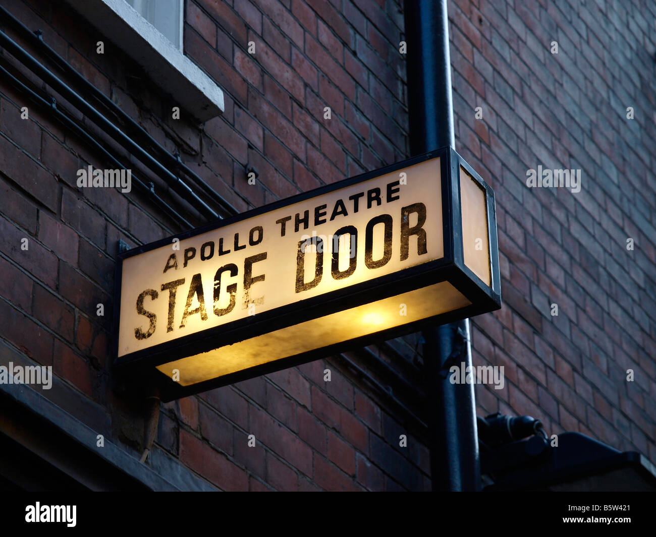 The Stage Door Sign of the Apollo Theatre Shaftesbury Avenue London England - Stock Image