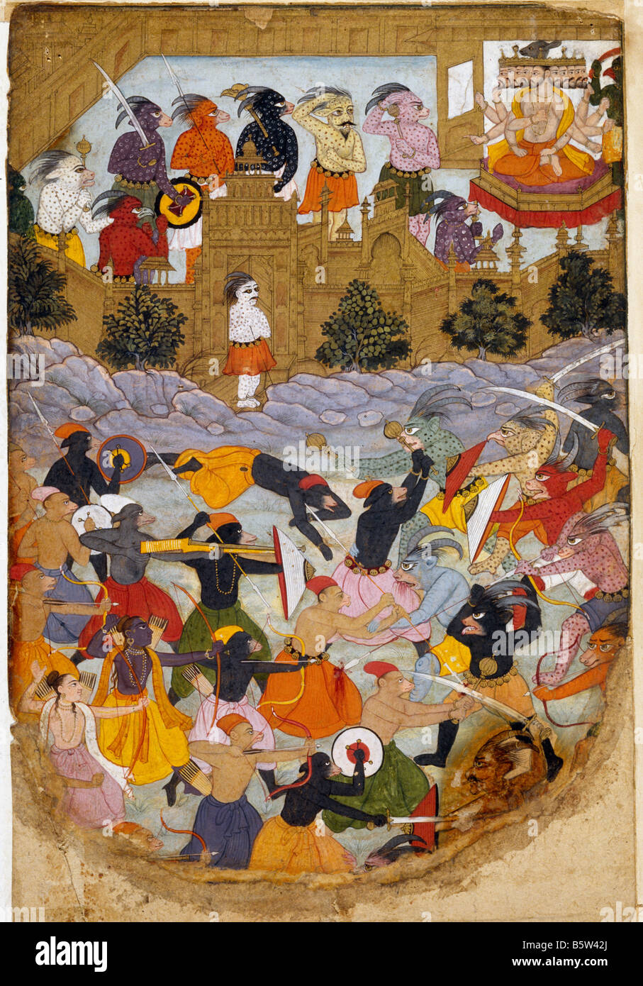 Siege of lanka Islamic book illustration Ramayana. Transcribed with text on reverse. Mughal. C. 1600 AD National - Stock Image