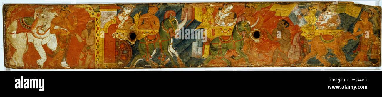Vessantara Jataka manuscript cover painted on wood. Bengal. Circa 1200. National Museum of New Delhi India 5l.212 - Stock Image