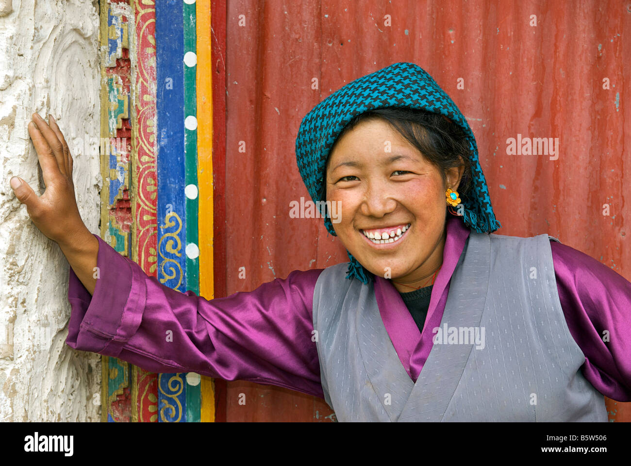 Tibetan villager in everyday dress. Tibet - Stock Image