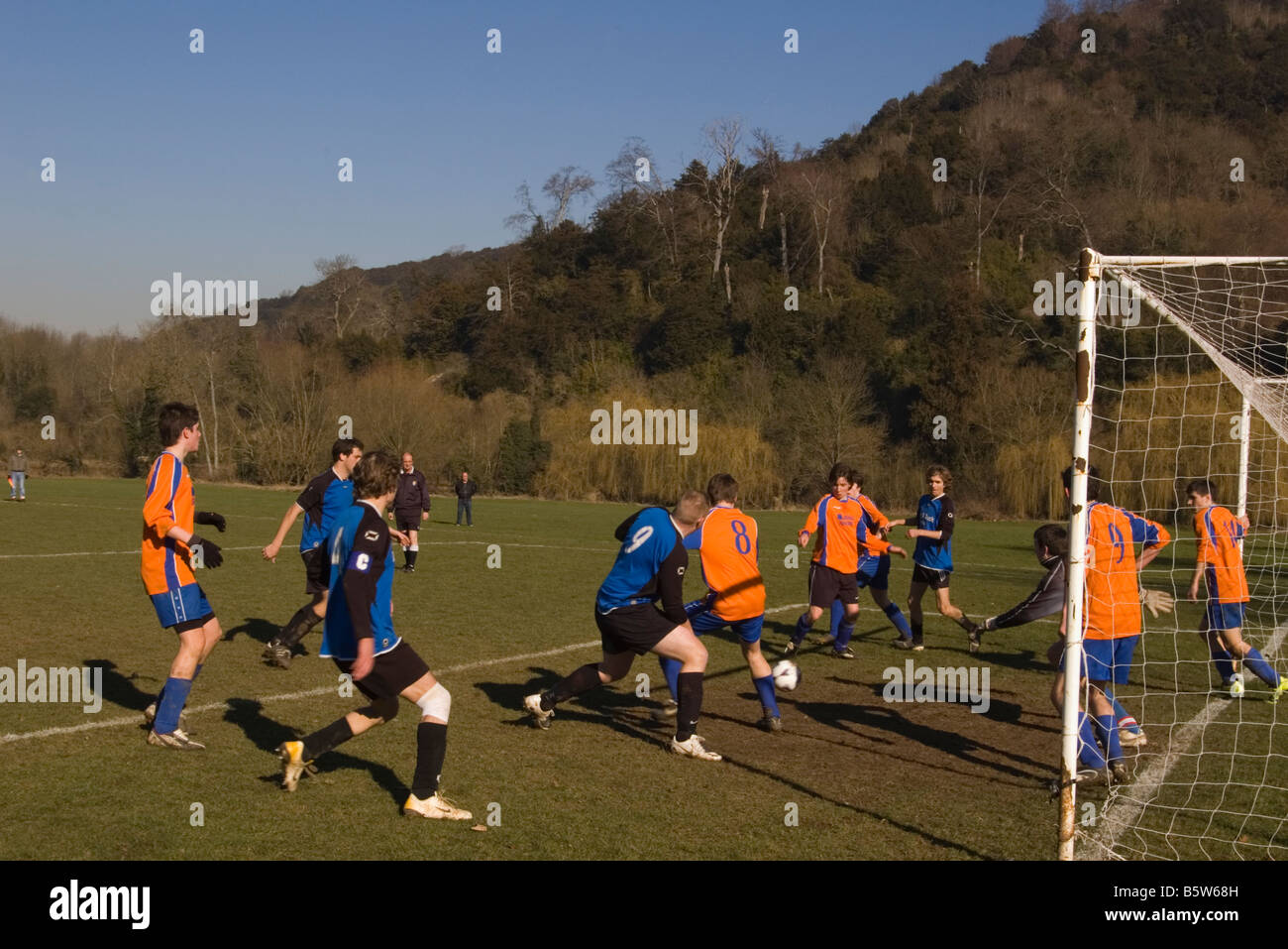 Amateur 'sunday league' Football Match Goalmouth Scramble - Stock Image