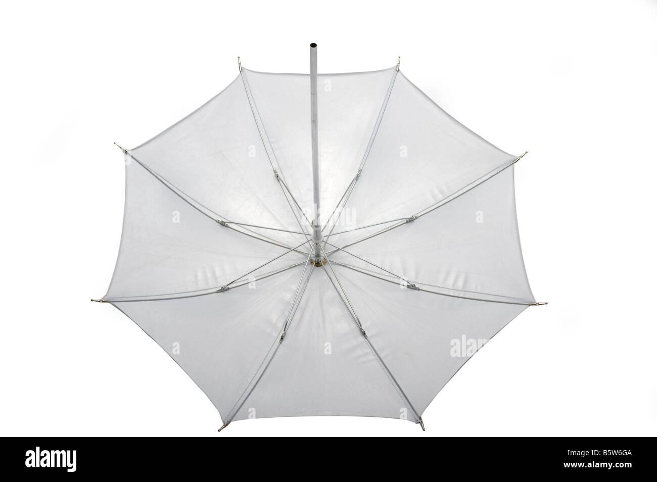 White reflective photographic umbrella - Stock Image