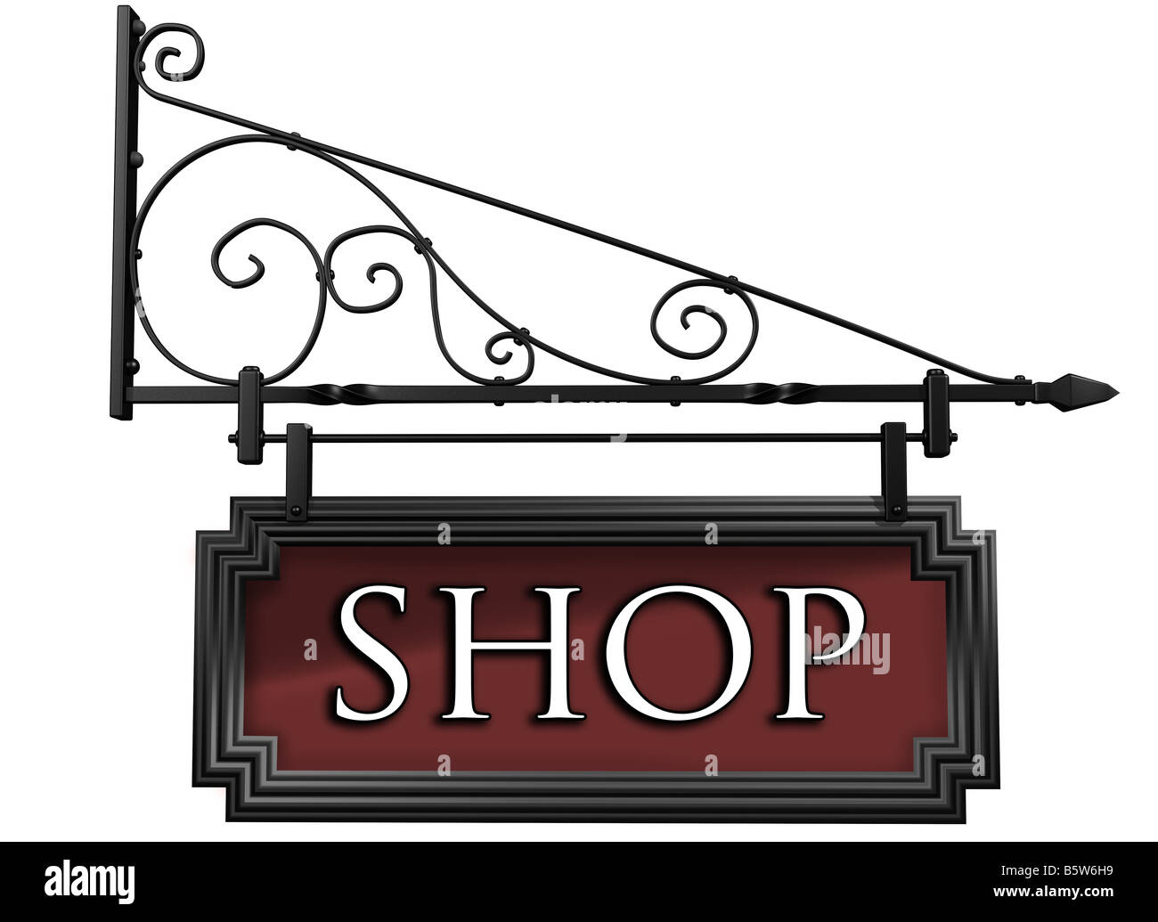 Illustration of an isolated antique style shop sign - Stock Image
