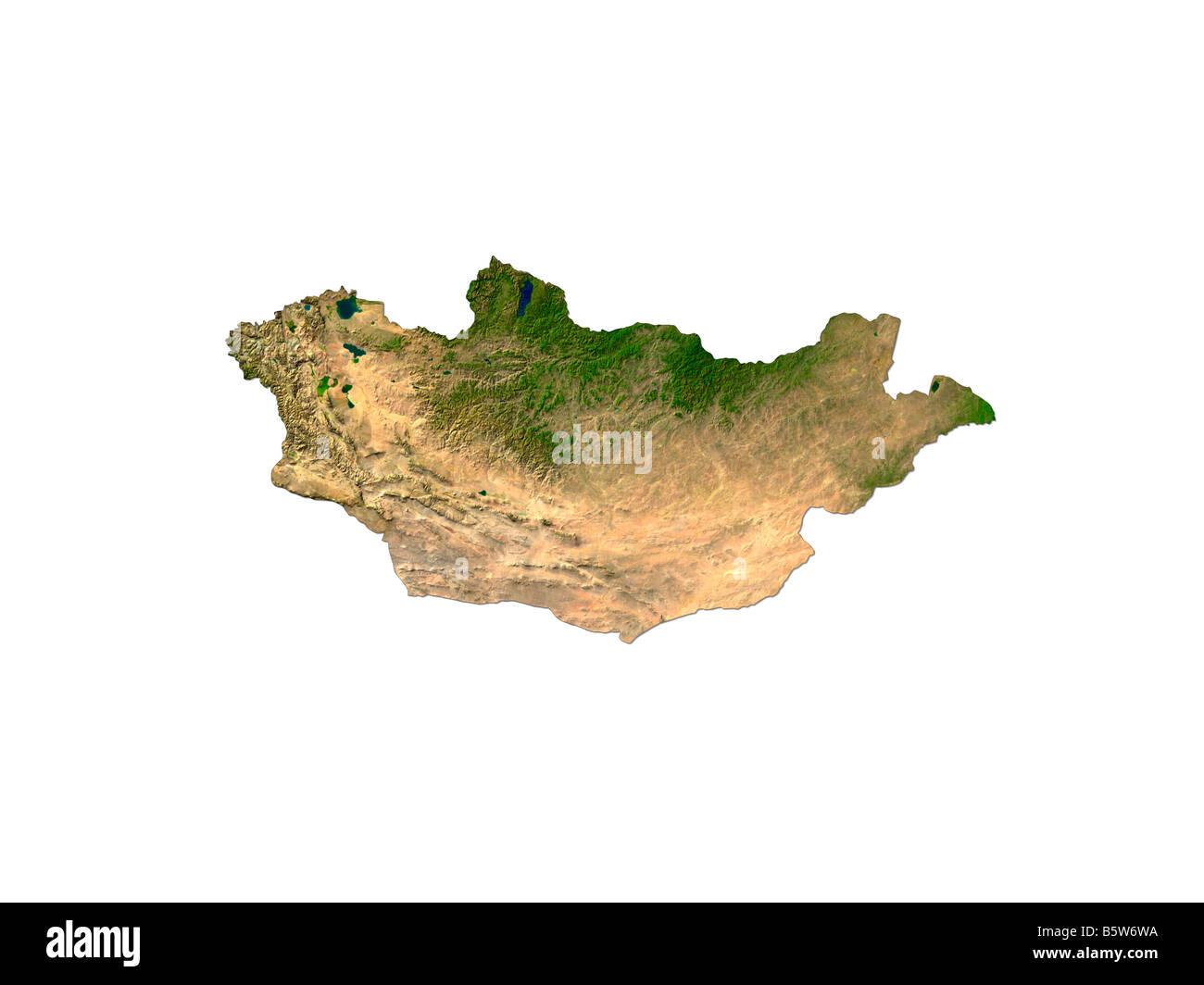 Satellite Image Of Mongolia Isolated On White Background - Stock Image