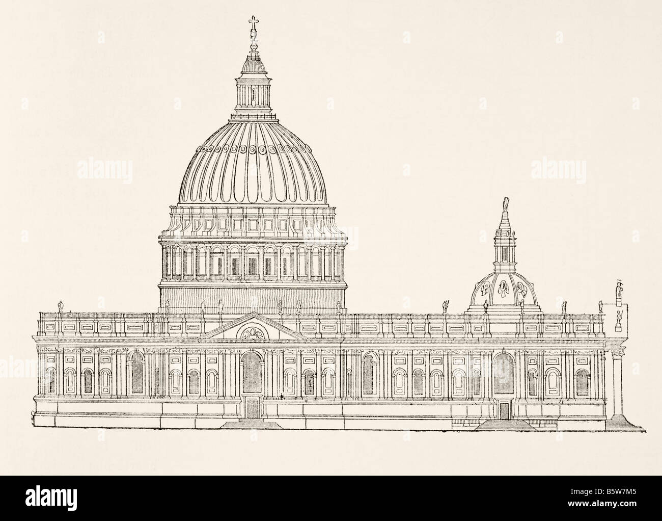 Christopher Wren's first design for the new St Paul0s Cathedral after the Great Fire of London, Stock Photo