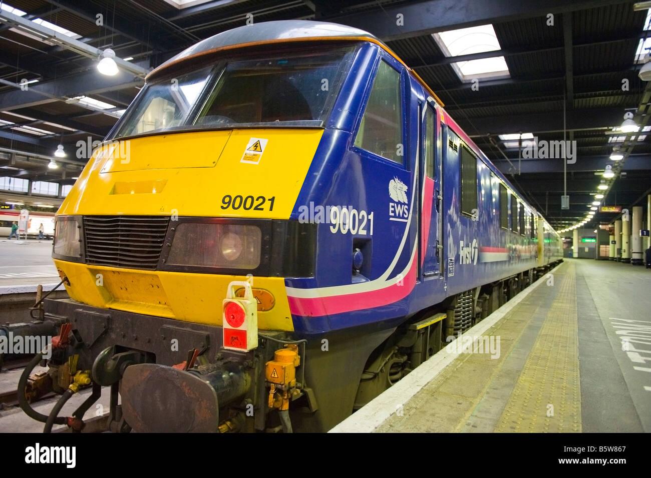 London , Euston Railways Station , EWS First Scot Rail train engine at platform - Stock Image