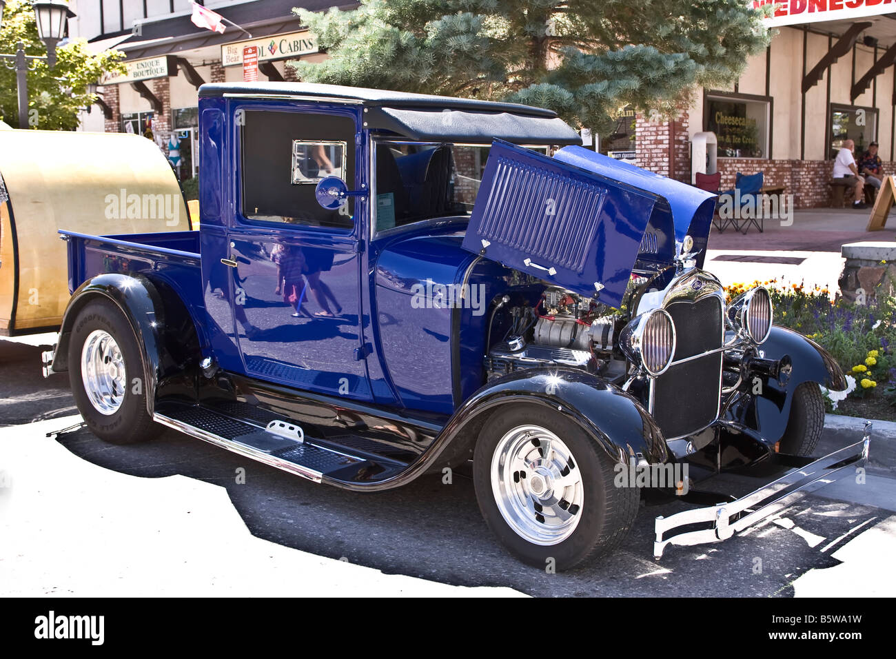 Blue Ford supercharged V8 pick up truck hot rod Stock Photo ...