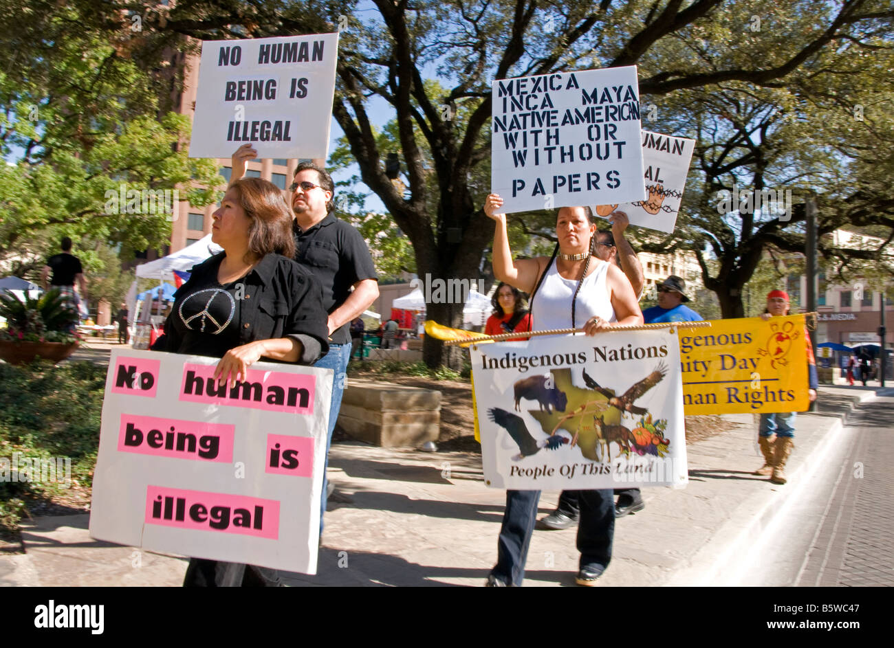 Hispanics and native Americans demonstrating for immigrant rights in downtown San Antonio, Texas Stock Photo