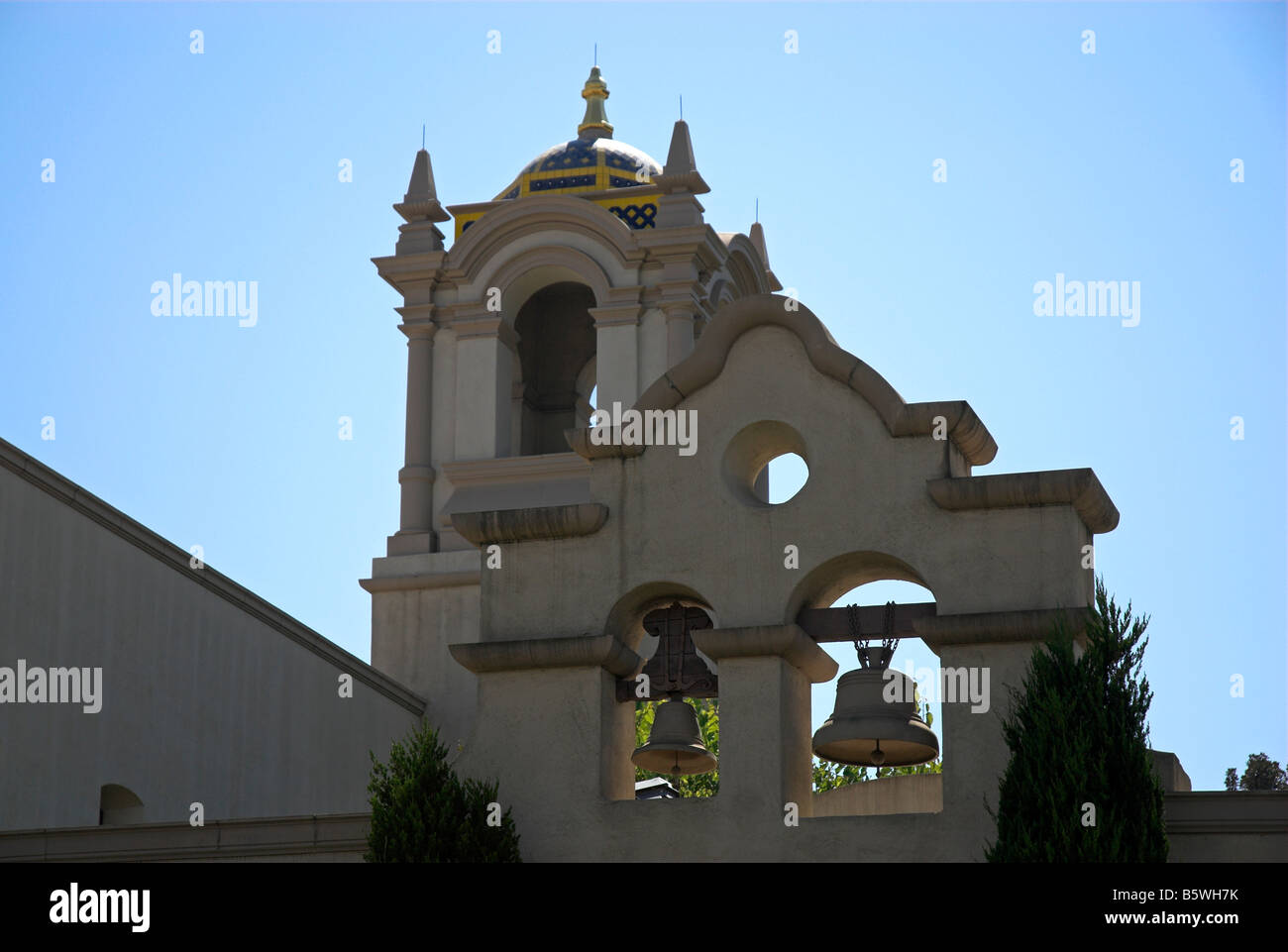 Belltowers along 'El Prado' at Balboa Park in San Diego, California, USA (horizontal orientation) - Stock Image