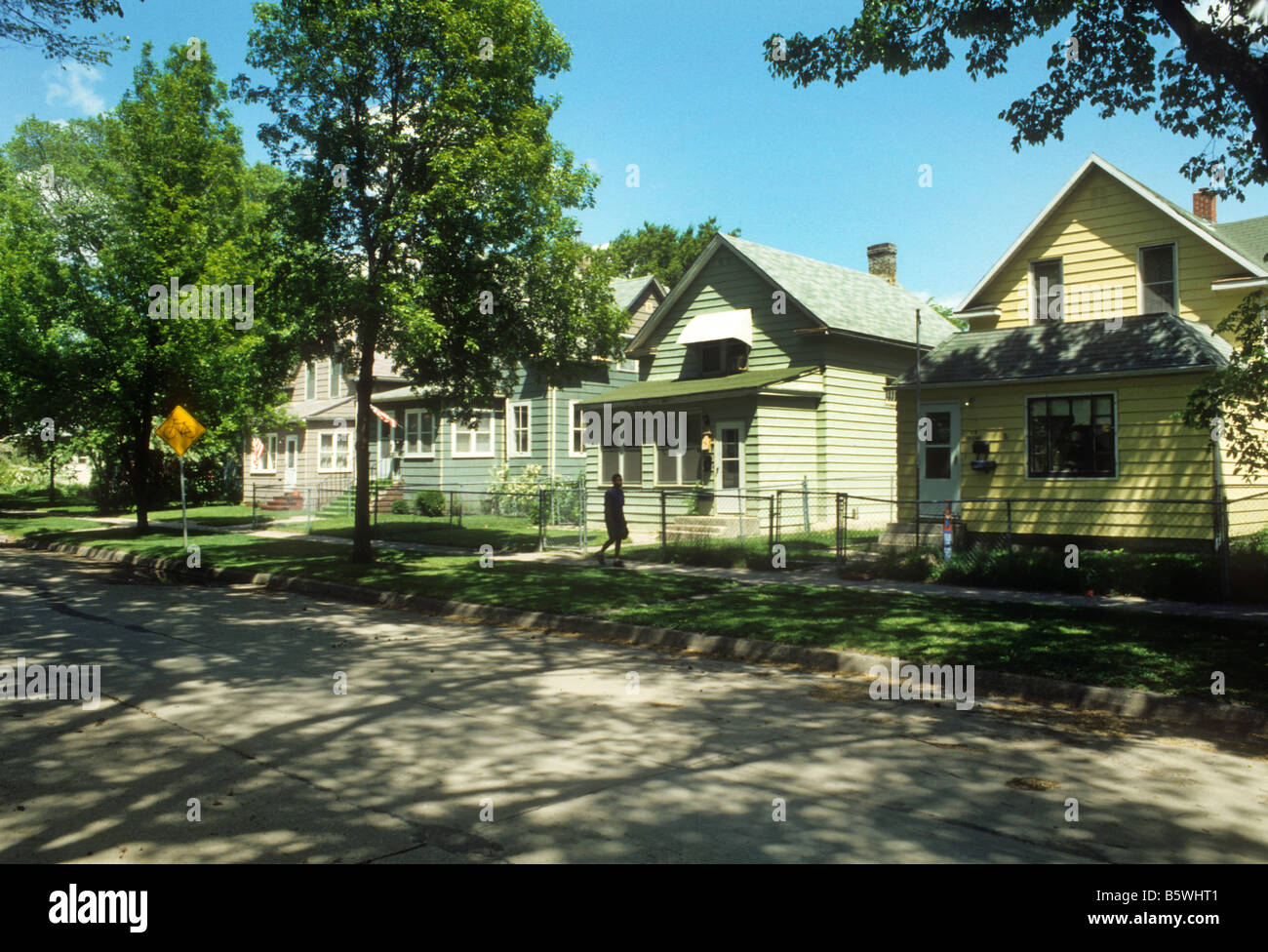 Old Houses Line Street In Grand Forks North Dakota Usa Stock Photo