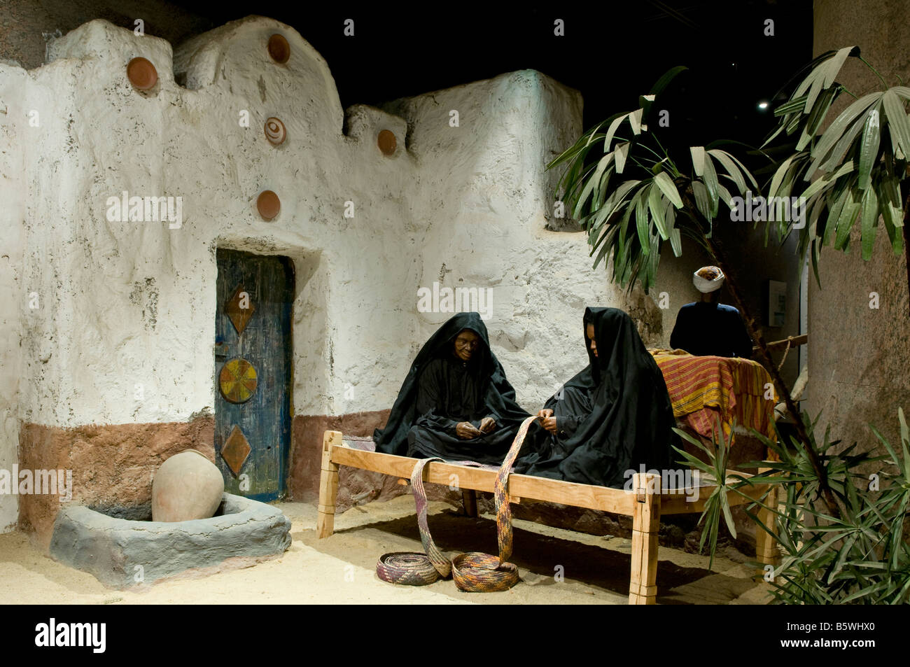 Puppets depicting native Nubian women displayed at the Nubian ethnography exhibition inside the Nubian Museum in - Stock Image