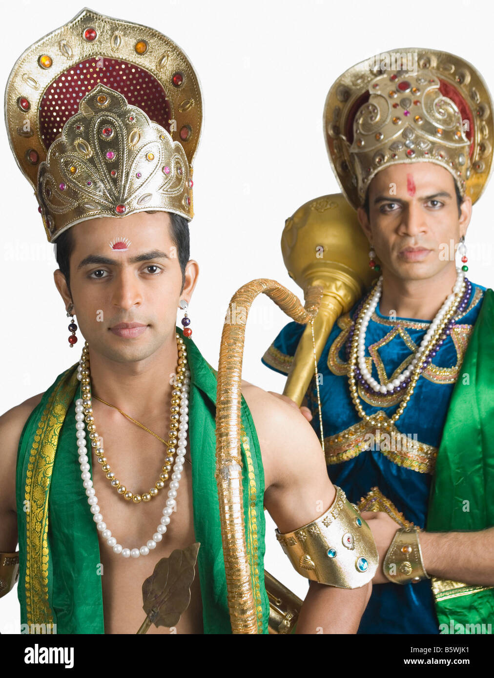 Two young men in a character of Arjuna and Bhima - Stock Image